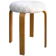 Merino Wool and Birch Plywood Stool by Cor Alons for Gouda Den Boer, 1955