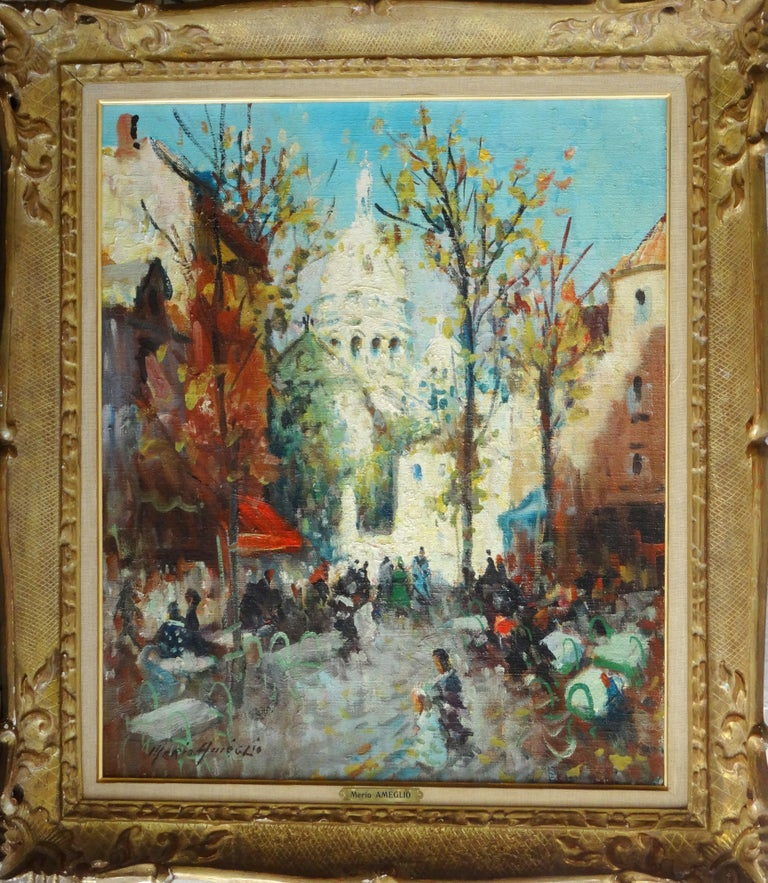 Montmartre. Oil on canvas, 55x46 cm - Impressionist Painting by Merio Ameglio