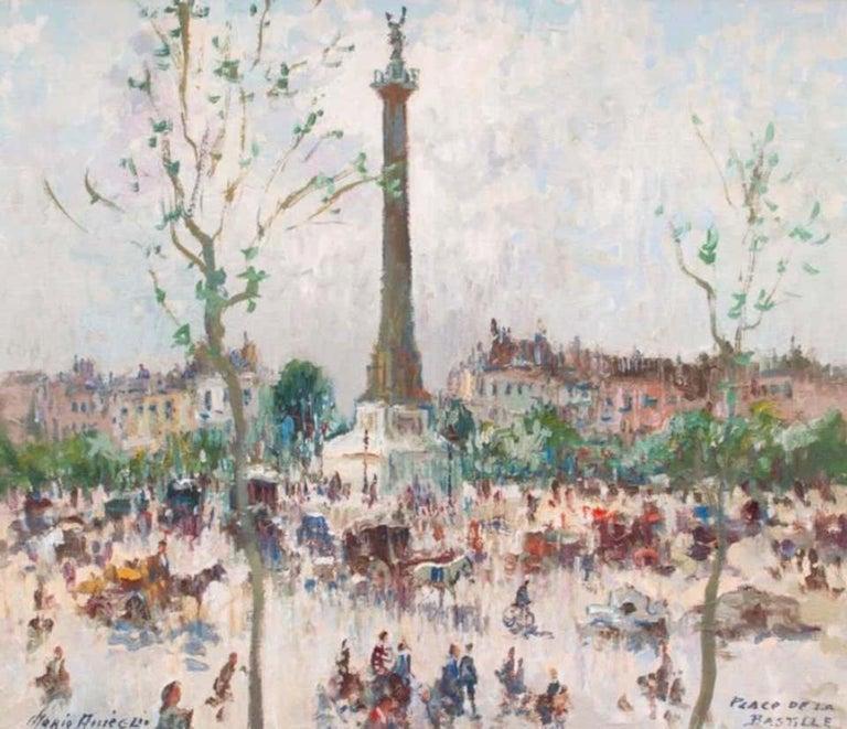 Place De La Bastille, Paris - Painting by Merio Ameglio