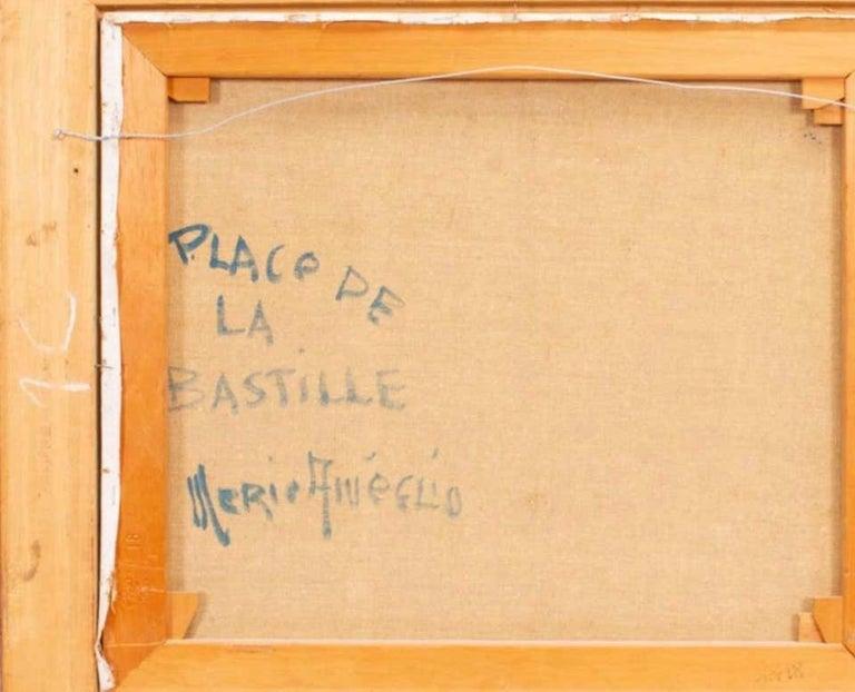 Place De La Bastille, Paris - Brown Landscape Painting by Merio Ameglio