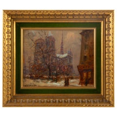Mério Ameglio Oil on Canvas Notre-Dame de Paris under the Snow, circa 1950