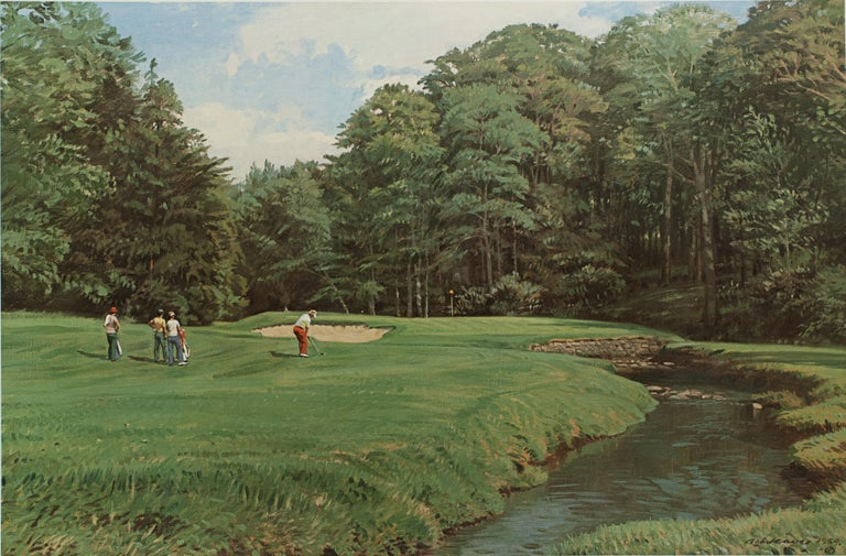 Arthur Weaver golf print, Merion golf club. A good large golfing photolithograph taken from the original painting by Arthur Weaver, the approach to the 11th green, Merion GC (East). Published 1986 by Sportsman's edge, Ltd. Signed in pencil by the
