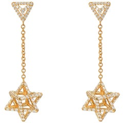 Merkaba Diamond Gold Drop Earrings Three Dimensional Star