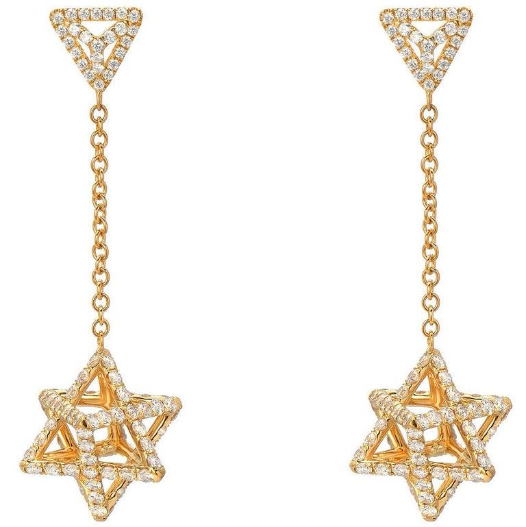 Merkaba Diamond Gold Drop Earrings Three Dimensional Star For Sale
