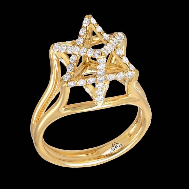 Merkaba Diamond Gold Ring For Sale 1