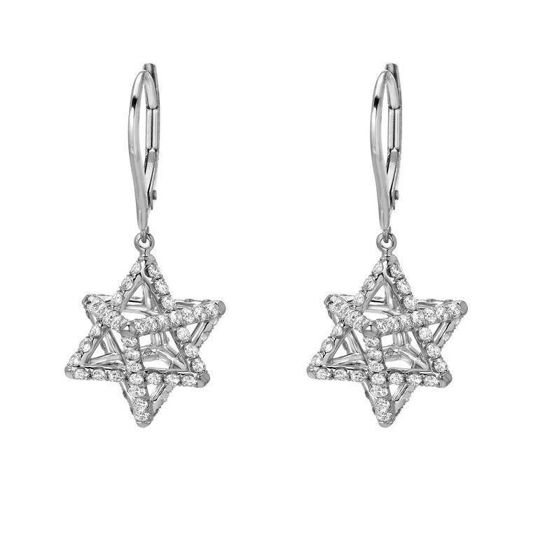 Women's Merkaba Diamond Platinum Lever Back Drop Earrings For Sale