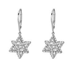 Diamond Earrings Platinum Merkaba Star Tetrahedron 2.02 Carats