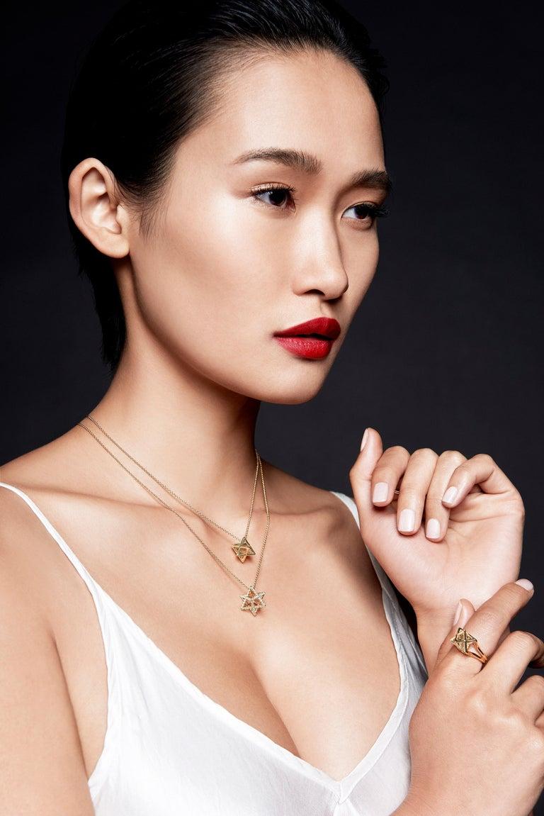 Women's or Men's Merkaba Star Diamond Yellow Gold Pendant Necklace For Sale