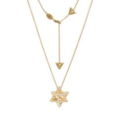 Merkaba Diamond Yellow Gold Pendant Necklace