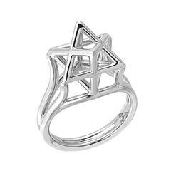 Merkaba Star Of David Platinum Ring