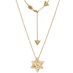 Gold Diamond Necklace 1.12 Carats Merkaba Star