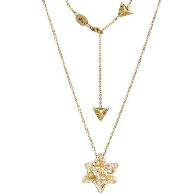 Merkaba Star Diamond Yellow Gold Pendant Necklace For Sale