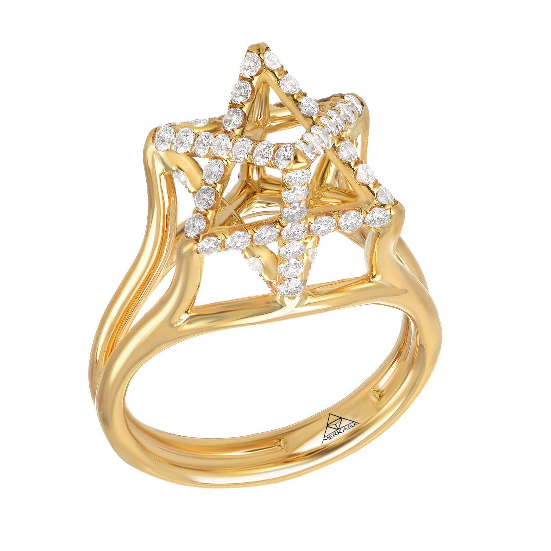 Diamond Ring 0.98 Carats Yellow Gold Merkaba Star