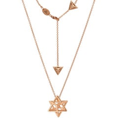 Merkaba Star Rose Gold Pendant Necklace Unisex