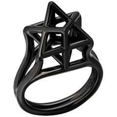Silver Ring Black Finished Merkaba Star