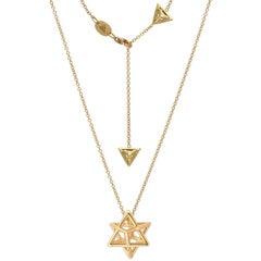 Merkaba Star Yellow Gold Pendant Necklace Unisex