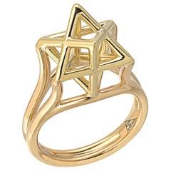 Merkaba Star Yellow Gold Ring