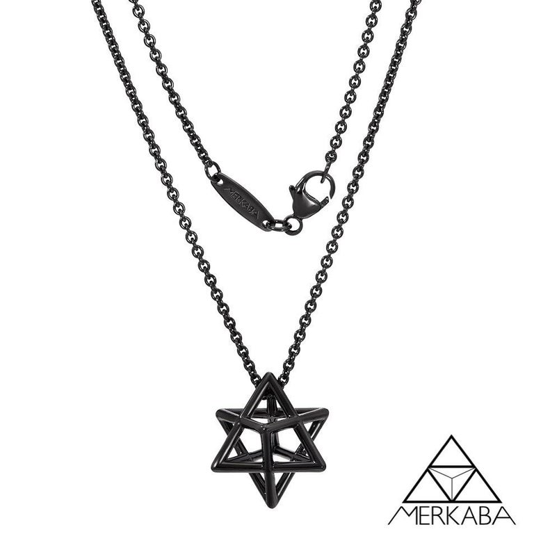 Silver Necklace Sustainable Black Finished Merkaba Star For Sale 1