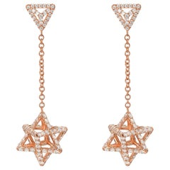 Rose Gold Diamond Earrings 2.39 Carats
