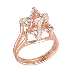 Rose Gold Diamond Ring 0.98 Carats Merkaba Star