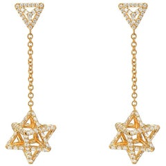 Gold Diamond Earrings 2.39 carats Merkaba Stars