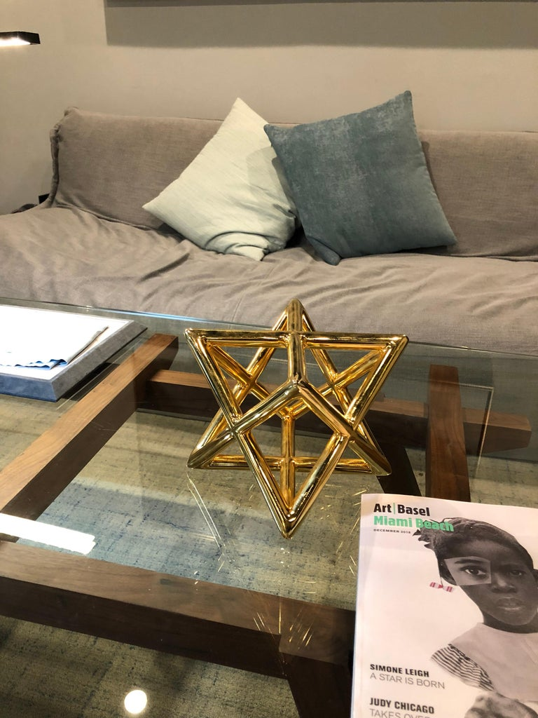 Modern Merkaba Three Dimensional Star of David Gold Plated Pewter Countertop Art Object For Sale
