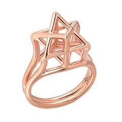 Rose Gold Ring Merkaba Star