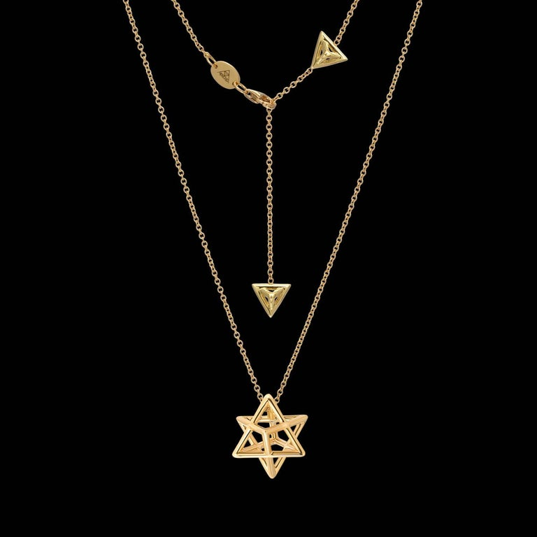Merkaba Three Dimensional Star Yellow Gold Pendant Necklace In New Condition For Sale In Beverly Hills, CA