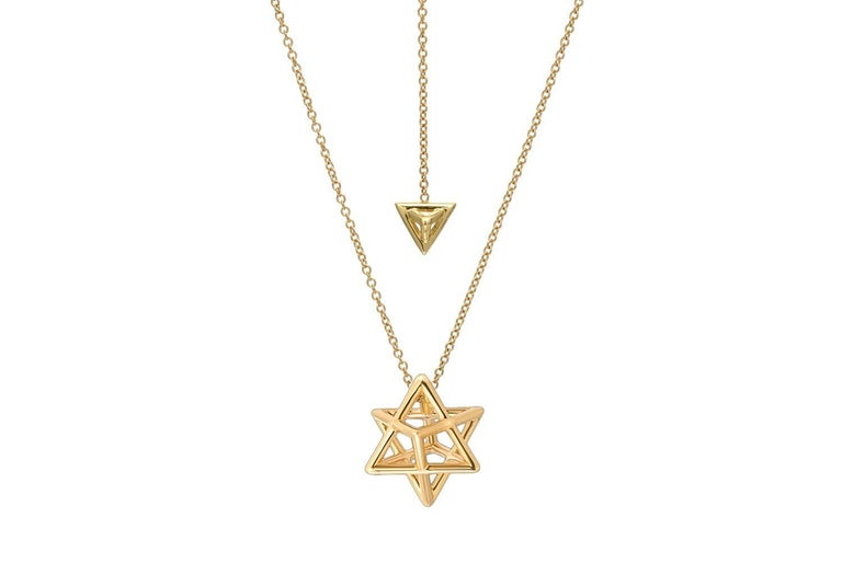 Merkaba Three Dimensional Star Yellow Gold Pendant Necklace For Sale 1