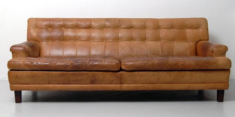 Scandinavian Modern Merkur Sofas by Arne Norell in Buffalo Leather, 1960s For Sale