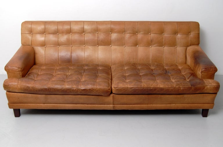 Merkur Sofas by Arne Norell in Buffalo Leather, 1960s In Distressed Condition For Sale In Stockholm, SE