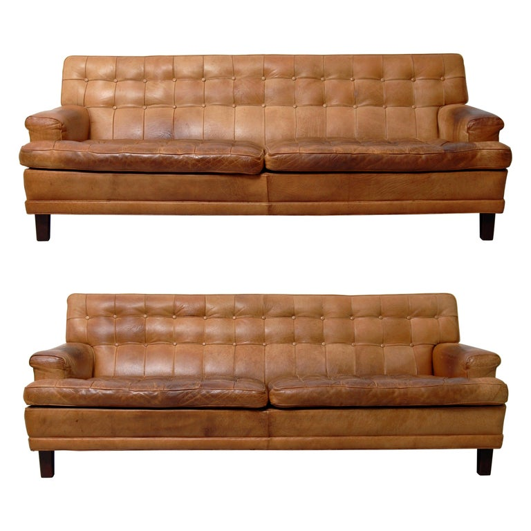 Merkur Sofas by Arne Norell in Buffalo Leather, 1960s For Sale