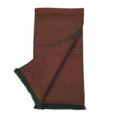 Merlot Merino Handloom Throw / Blanket in Deep Maroon and Olive