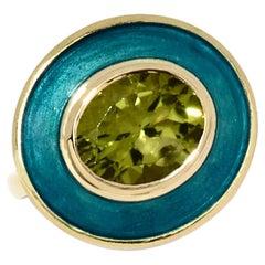 Mermaid Aurora Ring with Peridot and Vitreous Hot Enamel Set in 18 Karat Gold