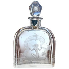 """Mermaid Riding Dolphin,"" Rare Engraved Art Deco Perfume Flask by Orrefors"