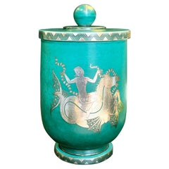 """Mermaid Riding Hippocampus,"" Large, Unique Argenta Covered Jar by Gustavsberg"