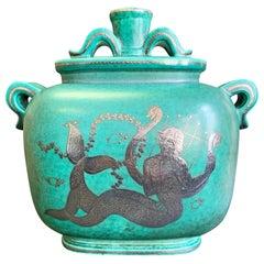 """Mermaid with Dragon Lyre,"" Fabulous, Unique Art Deco Lidded Jar by Kåge"