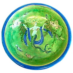 """Mermaid's Reign,"" Art Deco Bowl with Underwater Scene in Emerald Green and Gold"