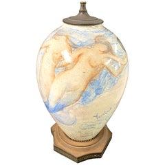 """""""Mermaids Undersea,"""" Fabulous Art Deco Lamp Base with Aquatic Scene"""