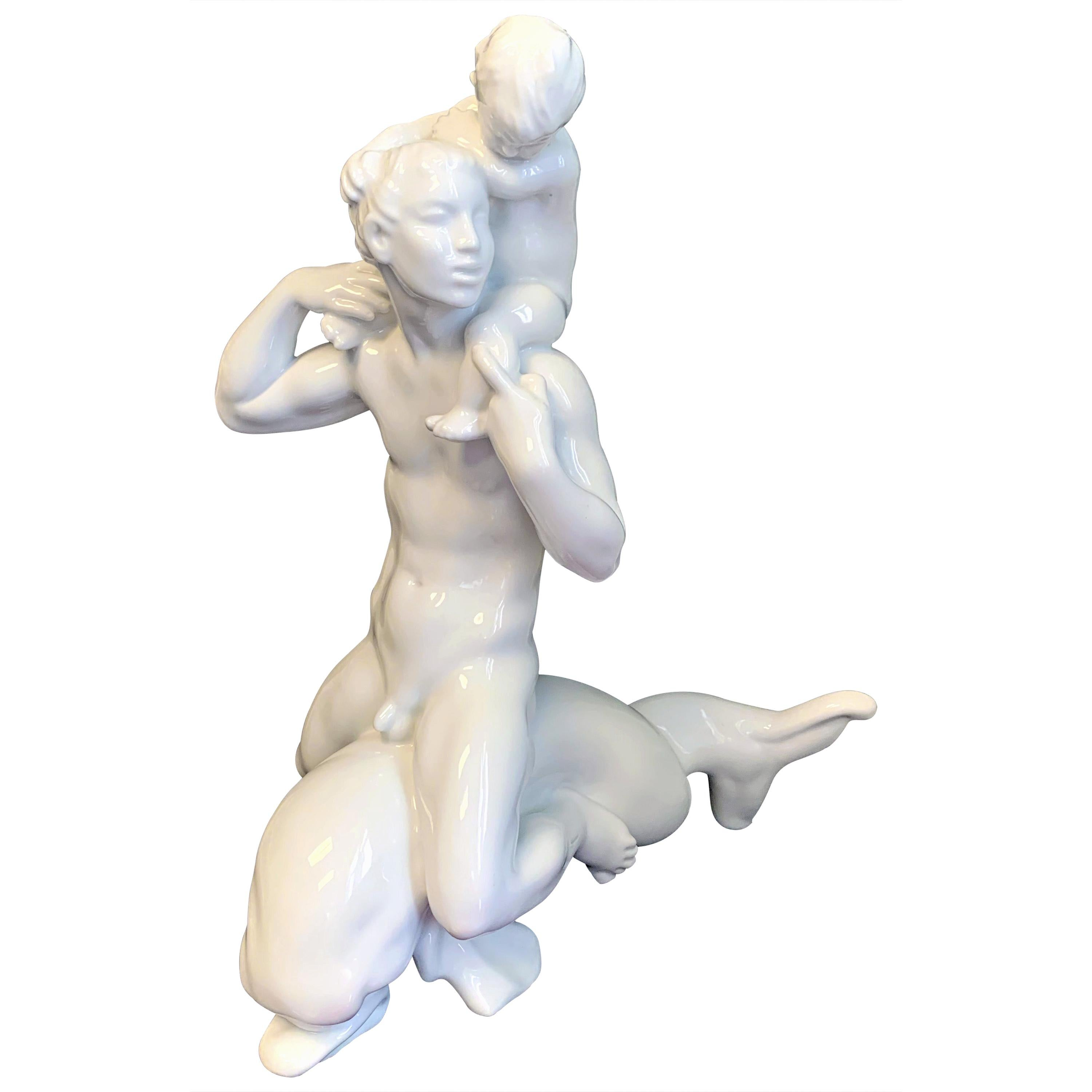 """""""Merman Riding Dolphin,"""" Rare, Large Art Deco Sculpture with Male Nude"""