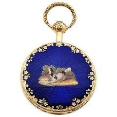 Mermod Freres Gold Pocket Watch Dog Enamel Miniature