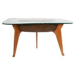 Meroni & Fossati Late 1930s Carved Wood and Ceramic Aquarium Lightning Table