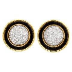 Merrin Gold Platinum Diamond Enamel Earrings