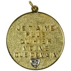 Merrin More Than Yesterday Diamond Heart 14 Karat Yellow Gold Love Charm Pendant