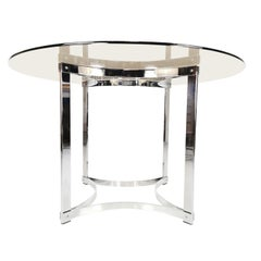 Merrow Associates Chrome Base and Glass Top Dining Table by Richard Young