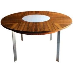 Merrow Associates Rosewood and Chrome Circular Dining Table Model 342R, 1960s