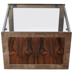 Merrow Associates Rosewood, Chrome and Glass Side Table