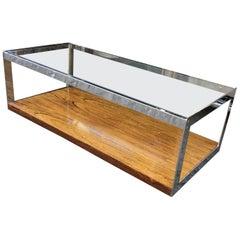 Merrow Associates Rosewood Glass and Chrome Coffee Table