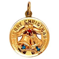 Merry Christmas Bell Charm in 14 Karat Gold