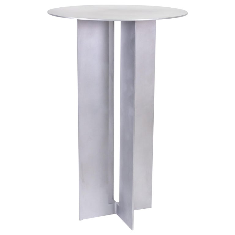 Mers Cafe Table in Aluminum Satin For Sale